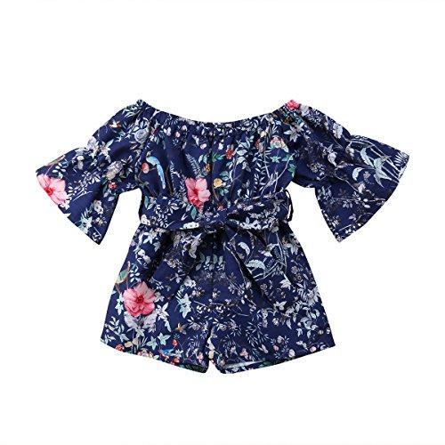 Shawnlen Säuglingskleinkind-Baby-Mädchen einteiliges langes Hülsen-Weg-Schulter-Blumendruck-Marine-Spielanzug-Outfits Kleidung (4-5 Jahre, Marine) - Marine Outfit