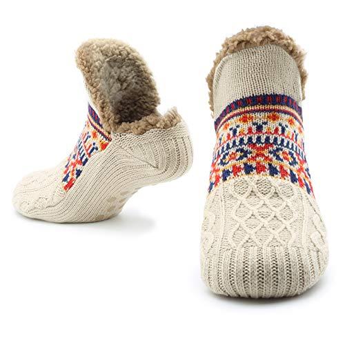 CityComfort Slipper Fluffy Socken für Frauen Männer Wärme Halten Socke Gestrickte Socken Wolle Sherpa Fuzzy Bett Hausschuhe Größe 5-8 Rutschfeste (Sahne)