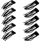 24 Stücke Gummiert Doppel Griff Schwarz Haarspangen Metall Schnappen Haarspangen für Haarherstellung, Salon Liefert