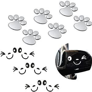 Hostk 12 Stück 3d Silber Chrome Hund Pfote Fußabdruck Auto Aufkleber Lächeln Gesicht Aufkleber Flügeltür Spiegel Selbstklebende Schwarz Und Weiß Auto