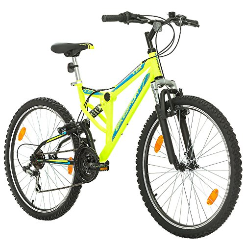 Fahrrad MTB Mountainbike Fully Full Suspension 26 Zoll Bikesport PARALLAX Shimano 18 Gang (Neongrün) -