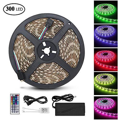 LED Streifen, Solawill 300 LED Strips 5 M Wasserdicht 5050 RGB Dimmbar LED Lichtband Led Bänder Selbstklebend mit 44 Tasten Fernbedienung und Netzteil