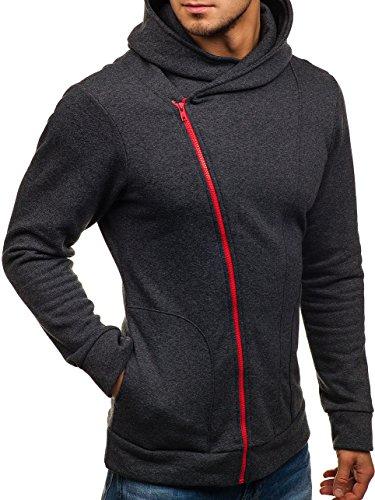 BOLF Felpa – Con cappuccio – Basic – Di cotone – Con cerniera obliqua – Stile sportivo – Da Uomo 1A1 Anthrazit_Rot