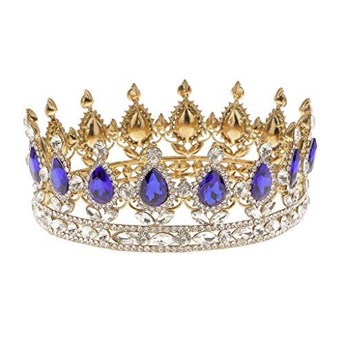 reina-del-rey-novia-tiaras-diamantes-de-imitacion-corona-oro-plateado-joyeria-del-pelo-azul