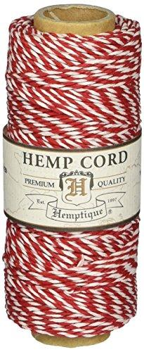Hemptique Hanfschnur, Stärke 9kg, mittlere Stärke, Rot/Weiß