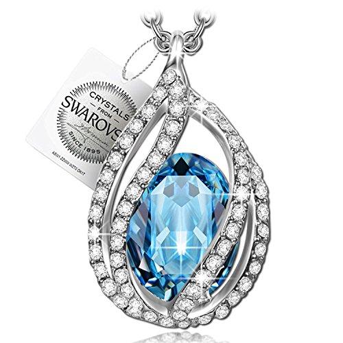 Pauline&morgen chiaro di luna collana donna cristalli swarovski blu gioielli regalo natale compleanno san valentino festa della mamma regali per fidanzata moglie figlia matrimonio sposa