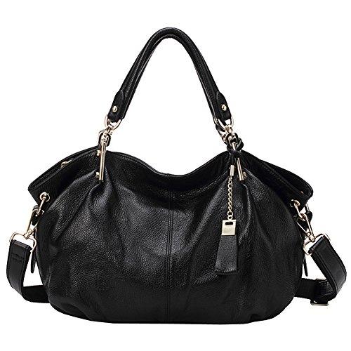 Echtes Leder Handtaschen für Frauen Soft Hobo Taschen Top-Griff Taschen Rindsleder Geschmeidige Totes Umhängetaschen (Schwarz)