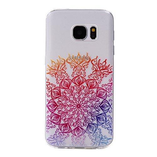 Preisvergleich Produktbild Roreikes Schutzhülle für Samsung Galaxy S7, Crystal Case Hülle aus TPU Silikon mit Indische Sonne Design Schutzhülle Cover klar Transparent hülle Skin Schutz Schale Protective Cover für Samsung Galaxy S7 - Grün