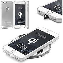 URCOVER® Funda de Carga Inalámbrica | PREMIUM | Apple iPhone 6 Plus / 6s Plus | Receptor Qi Integrado | Plata | Backcase Cargador Carga Rapida Bumper Case Cover en TPU