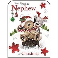 Christmas Card (JJ8076) Special Nephew - Sledging with Reindeer - Festive Fudge