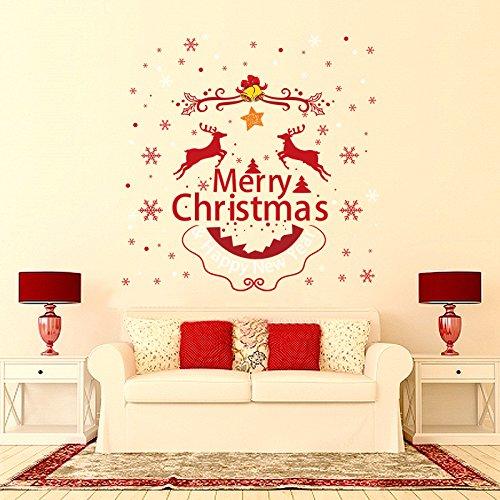 Happy Merry Christmas Rentier Weihnachten Xmas Schneeflocken Wandabziehbilder Rot Removable Sprichwort Wandtattoos Kunst Dekor für Schlafzimmer Wohnzimmer Schaufenster Glasschau, Tischdeko/Weihnachtsdeko