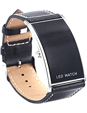KAIKSO-IN Digital-Datum-LED Uhr-Lederband Edelstahl-Sport-Dame-Mann-Armbanduhr