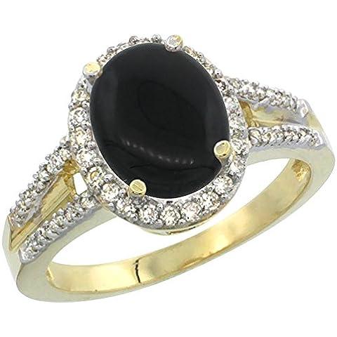 In oro giallo 14 k, colore: nero Onyx-Anello ovale, 10 x 8 mm, dettagli in brillantini, taglie J-T