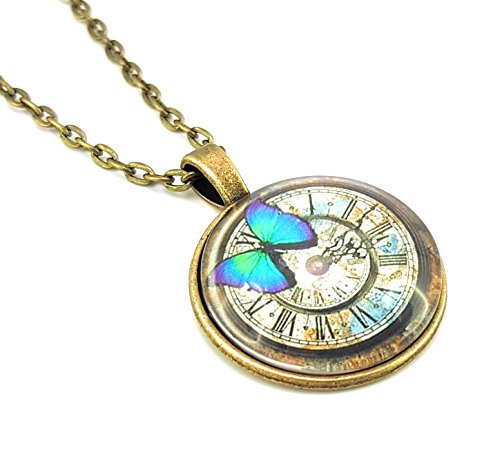 Stechschmuck Halskette mit Anhänger Amulett Medaillon Talisman Bronze Antik Uhr Uhrwerk Cabochon Schmetterling Butterfly Steampunk Damen Kinder 27mm Nickelfrei