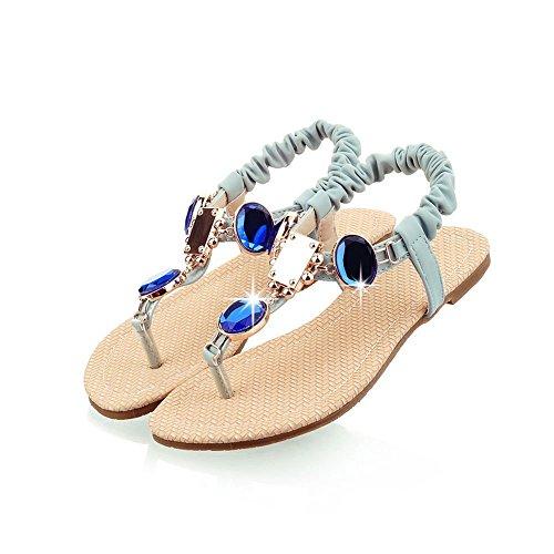 Dayiss Damen Sandalen flach Süß Elegant Sandaletten Zehntrenner mit Straß T-Strap Strandschuhe Freizeit Auslaufrabatt Blau