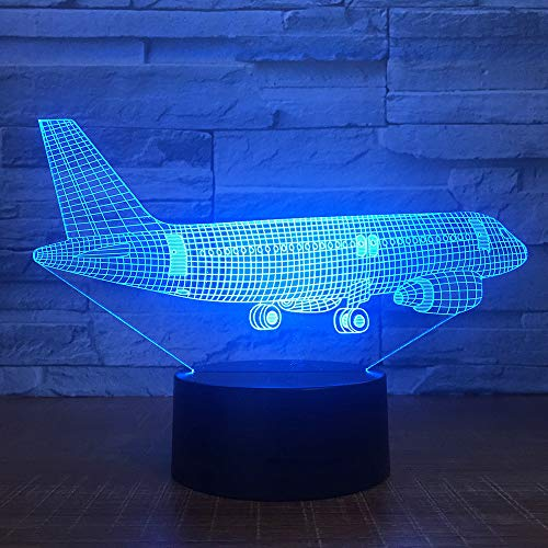 Wlwhaoo Aviones De Transporte Aéreo 3D 7 Lámparas De Color Luces Visuales...
