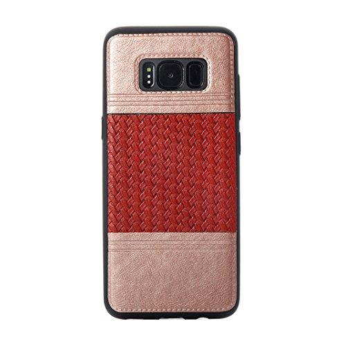 Cover Per Samsung Galaxy S8, Asnlove TPU Moda Morbida Custodia Linee Intrecciate Caso Elegante Ultra Sottile Cassa Braided Stile Tessere Case Bumper Per Samsung Galaxy S8 - Rosa Rosso