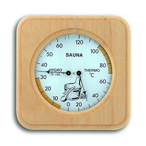 TFA Dostmann Analoges Sauna-Thermo-Hygrometer, mit Holzrahmen, Temperatur, Luftfeuchtigkeit,...