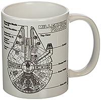 Tazza bianca di Star Wars con stampa Millennium Falcon Sketch.