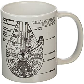 A ceramic mug decorated with a schematic of the Millenium Falcon