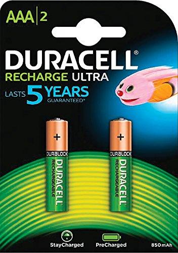 Duracell StayCharged Akku AAA (HR03) 850 mAh 2er Precharged (vorgeladene wiederaufladbare Batterie)