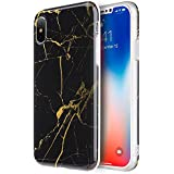 Apple iPhone X Case, Insten [Marble Pattern] TPU Rubber Candy Skin Case Cover Compatible with Apple iPhone X, Black & Gold