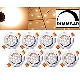 Hengda® 8 Stück LED Einbaustrahler Dimmbar Warmweiss für den Wohnbereich Bad, LED Einbauleuchten inkl. 7W LED Einbauspots 500lm, Round, Aluminium