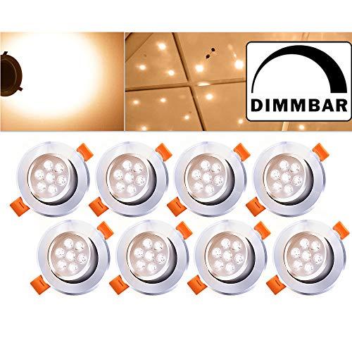 Hengda® 8 Stück LED Einbaustrahler Dimmbar Warmweiss für den Wohnbereich Bad, LED Einbauleuchten inkl. 7W LED Einbauspots 500lm, Round, Aluminium (Renovieren Einbaustrahler)