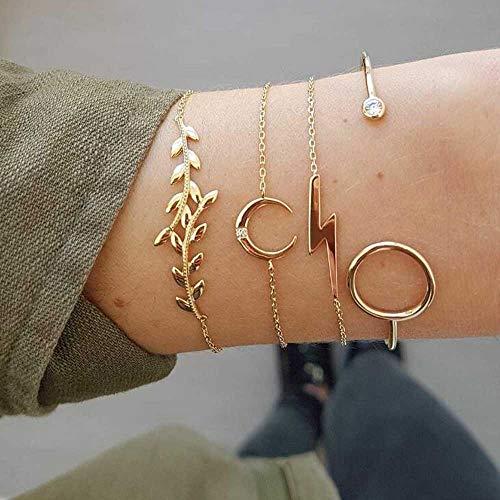 Jovono Simple Hollow Hoop Open Armband endete breite Armreif Manschette mit Leaf Moon Lightning für Frauen und Mädchen (4 Stück) (Gold)