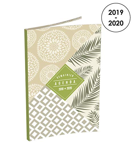 Lecas Tandem Wochenkalender 2019-2020 von August bis August 1 Woche auf 2 Seiten, Format 16 x 24 cm, Einband in Lederoptik, Grün - Beige -