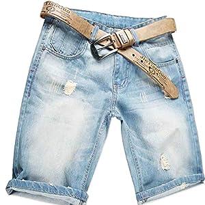AITESEN Herren Denim Bermuda Jeans Shorts Sommer Kurze Hose hellblau Ohne Guertel