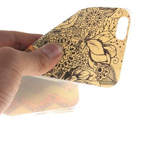 Ooboom® iPhone 5SE Hülle TPU Silikon Gel Ultra Dünn Schutzhülle Handy Tasche Case Cover für iPhone 5SE - Löwe Schwarz Welle Blume