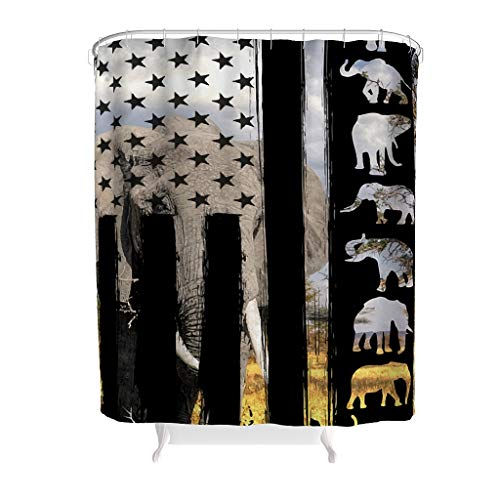 EPLstar Elefanten-Duschvorhänge, wasserdicht, Polyester-Gewebe, Bedruckt, Badedeko, Standardgröße, Polyester, weiß, 200x200cm
