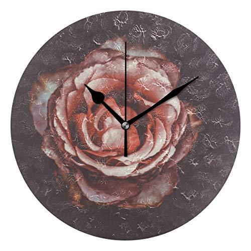 Xukmefat Retro Pink Rose 3D Print Silent Wanduhr mit Non Ticking Quient Bewegung für Wohnzimmer Dekor