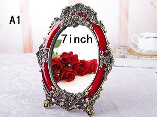 Xiuxiandianju 7 pollici European-Style Box Antique Wedding Specchio Rosso 8 pollici nuziale specchio per il (Camera Ovale Dresser)