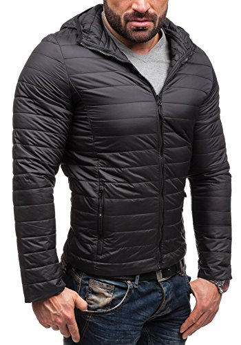 BOLF Herrenjacke Herren Jacke Steppjacke Moderne Jacke mit Kapuze ADREXX 066 Schwarz