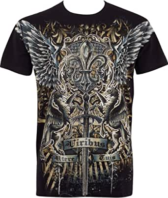 TGGriffinSword035 Sword and Griffin Metallic Silver Embossed Short Sleeve Crew Neck Cotton Mens Fashion T-Shirt - Black / Small