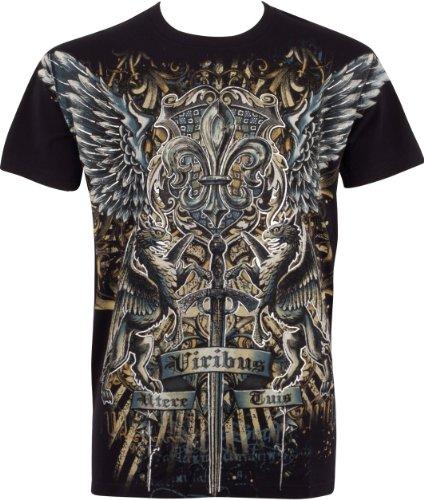 Sakkas Swoderd and Griffin T-Shirt aus Baumwolle für Männer Schwarz Schwarz