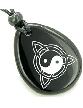 Magic Ying Yang and Celtic Triquetra Knot Amulet Black Agate Pendant Necklace