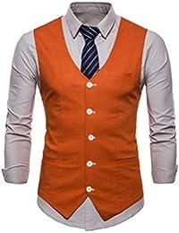 online retailer c7fb4 c491b INVACHI Mens Casual Slim Fit Stylish Suit Solid 6 Buttons Cotton and Linen  Blend Vest Leisure