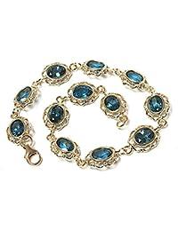 9ct Gold London Blue Topaz Bracelet