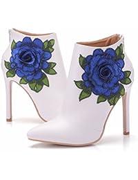 QIN&X Señaló la mujer Tacones Stiletto Toe Botines cortos zapatos con plataforma bordado