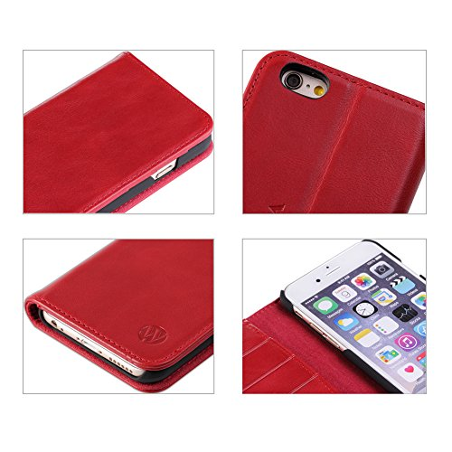 iPhone 6 Plus Case,iPhone 6s Plus Case,Genuine Leather Case,Luxury Wallet Case,Flip Folio Book Cover with Kickstand,Card Slots,Magnetic Closure(5.5 inches)Dunkelbraun Red