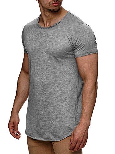S!RPREME Herren T-Shirt Kurzarm Basic Longshirt Oversize Slim Fit Grau S (Herren T-shirts Kurze)
