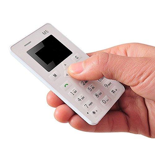 Minitelefon,YULAND Karte Handy 4,5 mm ultradünne Tasche Mini Phone M5 Wecker (Weiß)