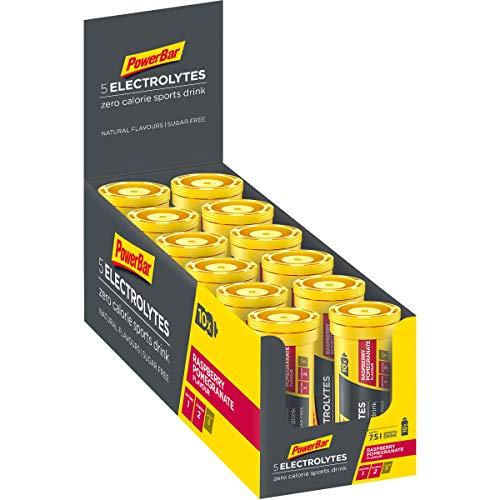 PowerBar Elektrolyte Tabletten 5 Electrolytes - Brausetabletten mit 5 Mineralstoffen - Erfrischender Drink mit Natrium, Chlorid, Kalium, Magnesium und Calcium - Himbeere Granatapfel (12 x 10 Tabs)