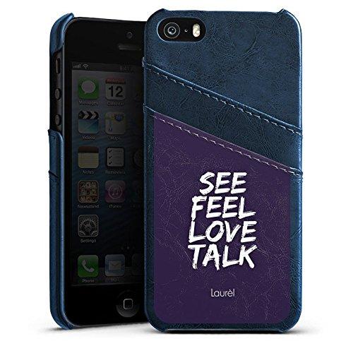 Apple iPhone 5s Housse Étui Protection Coque See Feel Love Phrases Laurel Étui en cuir bleu marine