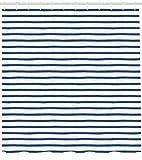 Abakuhaus Harbor-Streifen Duschvorhang, Hand Gezeichnet Meer, Moderner Digitaldruck mit 12 Haken auf Stoff Wasser und Bakterie Resistent, 175 x 220 cm, Nacht Blau Weiß