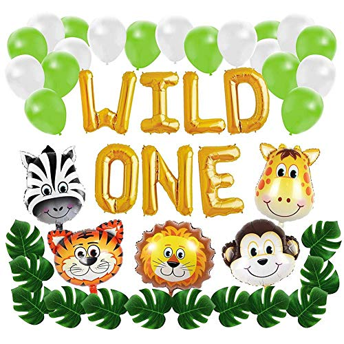 Wild One First Birthday Globos Kit De Decoraciones Con Hojas De Palmeras Artificiales Baby Girl Boy 1st Bday Party Supplies Con Globos De Animales