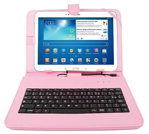 Etui aspect cuir rose + clavier intégré AZERTY (français) et port de maintien pour tablettes Samsung Galaxy Tab 3 P5200/P5210/ P5220, Note Edition 2014 (SM-P600) et Tab Pro 10,1